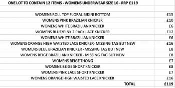 ONE LOT TO CONTAIN 12 ITEMS - WOMENS UNDERWEAR SIZE 16 - RRP £119 (2000)