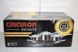 BOXED CIRCULON INFINITE HARD ANODIZED 5 PIECE COOKWARE SET TOTAL NON-STICK SYSTEM RRP £190.