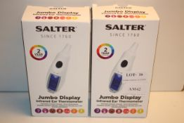 2X BOXED SALTER JUMBO DISPLAY INFRARED EAR THERMOMETERS COMBINED RRP £67.88Condition ReportAppraisal