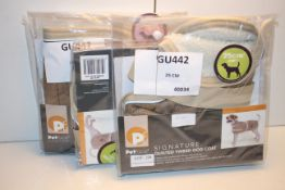 3X ASSORTED PETFACE SIGNATURE QUILTED TWEED DOOG COATS COMBINED RRP £45.00Condition