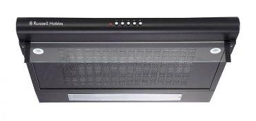 BOXED RUSSELL HOBBS 60CM WIDE BLACK STEEL VISOR COOKER HOOD MODEL: RHVSRCH602B RRP £65.00Condition