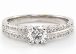 18ct White Gold Single Stone Diamond Ring With Double Chanel Set Shoulders (0.70) 0.83 Carats -
