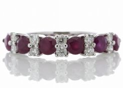 14ct Gold Semi Eternity Ruby And Diamond Ring 0.33 Carats - Valued by GIE £3,470.00 - Six stunning