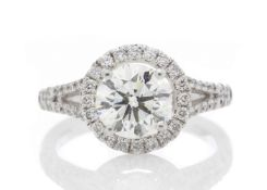 18ct White Gold Single Stone With Halo Setting Ring (1.64) 1.98 Carats - Valued by IDI £36,000.