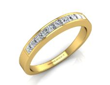 9ct Channel Set Semi Eternity Diamond Ring 0.50 Carats - Valued by GIE £4,695.00 - Ten princess