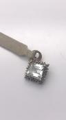 9 carat Gold Square Aquamarine Pendant