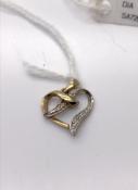 9 carat Yellow and White Gold Diamond Heart Pendant