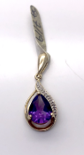10 carat Yellow Gold Pendant set with Amethyst and Diamonds