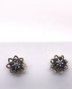 9ct Yellow Gold Diamond and Sapphire Earrings