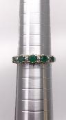 9 carat Yellow Gold Diamond and Emerald Ring