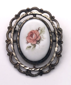 Porcelain Enamel Rose Brooch