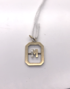 9ct Yellow Gold Diamond set M Pendant