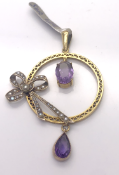 9 carat Antique Yellow Gold Pendant set with Amethysts and Pearls