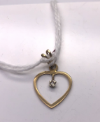 9ct yellow gold heart shaped diamond pendant