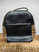 WOMENS BLACK AND CHEETAH PRINT BACKPACKCondition ReportAppraisal Available on Request- All Items are