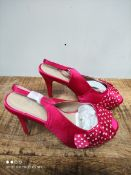 UNBOXED WOMENS SIZE 6 PINK POKER DOT HEEL SHOES RRP £13.99Condition ReportAppraisal Available on