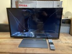 BOXED TOSHIBA 32WK3A63DB 32 INCH TV, CRAKED SCREEN, POWERS ONCondition ReportCRAKED SCREEN, POWERS