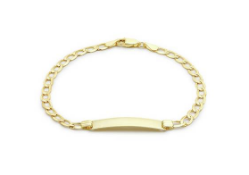 BOXED 9CT YELLOW GOLD GENTS CURB IDENTITY BRACELET, ENSCRIBED WITH MARK, HOWEVER CAN BE BUFFED