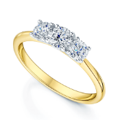 BOXED CHARLES AND COLVARD CREATED MOISSANITE, 9CT YELLOW GOLD, THREE STONE RING, CENTER STONE- 0.