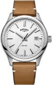 BOXED GENTS ROTARY WATCH, WITH BROWN LEATHER STRAP AND WHITE DIAL, MODEL- GS05092, RRP-£119.00,