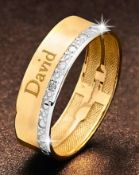 BOXED 9CT YELLOW AND WHITE GOLD WEDDING BAND, BY PRECIOUS SENTIMENTS, SIZE- M, SET WITH ONE SMALL