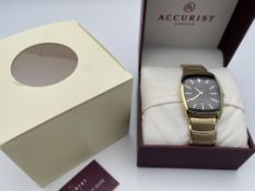 BOXED ACCURIST GENTS GOLD TONE WATCH, MODEL- KC5445, WORKING, APPEARS NEW, NEEDS NEW PIN TO
