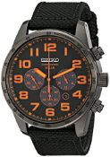 BOXED GENTS SEIKO CHRONOGRAPH SOLAR WATCH, BLACK STRAP WITH ORANGE NUMERALS, MODEL- SSC233,