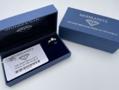 BOXED 14CT WHITE AND YELLOW GOLD THREE STONE MOISSANITE RING, SIZE- Q, CENTER STONE APPROIX- 1.50CT,