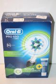 BOXED ORAL B POWERED BY BRAUN PRO 650 3D ACTION TOOTHBRUSH RRP £24.99Condition ReportAppraisal