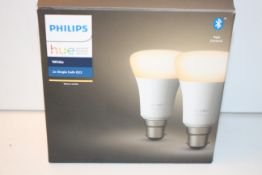 BOXED PHILIPS HUE PERSONAL WIRELESS LIGHTING WHITE 2X SINGLE BULB B22 RRP £24.99Condition