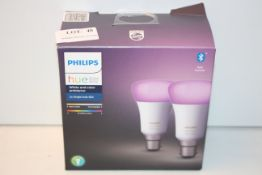 BOXED PHILIPS HUE PERSONAL WIRELESS LIGHTING WHITE AND COLOUR AMBIANCE 2X SINGLE BULB B22 RRP £40.