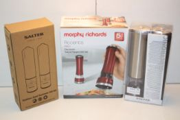 3X BOXED ASSORTED ELECTRONIC SALT & PEPPER MILLS BY MORPHY RICHARDS & SALTER COMBINED RRP £90.