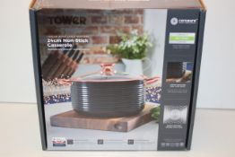 BOXED TOWER LINEAR ROSE GOLD EDITION 24CM NON-STICK CASSEROLE RRP £40.00Condition ReportAppraisal