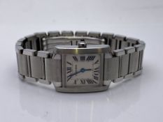 LADIES CARTIER TANK FRANCAISE WATCH, STAINLESS STEEL, WATCH ONLY (352)