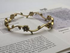 ***£4500.00*** YELLOW GOLD DIAMOND BANGLE, SET WITH FORTY TWO ROUND BRILLIANT CUT DIAMONDS, AND WITH