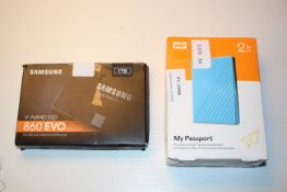 2X BOXED ASSORTED ITEMS TO INCLUDE WD MY PASSPORT 2TB & SAMSUNG V-NAND SSD 860 EVO (IMAGE DEPICTS