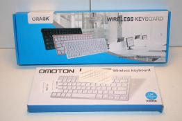 2X BOXED ASSORTED KEYBOARDS BY OMOTON & ORASK (IMAGE DEPICTS STOCK)Condition ReportAppraisal