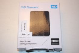 BOXED WD ELEMENTS BASIC PORTABLE STORAGE 500GB GO RRP £40.00Condition ReportAppraisal Available on