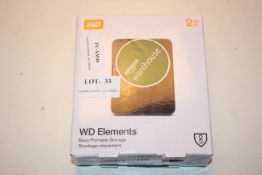 BOXED WD ELEMENTS BASIC PORTABLE STORAGE 2TB RRP £70.00Condition ReportAppraisal Available on