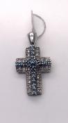 Diamond and Aquamarine Cross Set in 9 carat White Gold 2.3G Ref 401