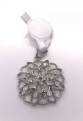 Hexagonal Diamond Pendant set with 12 Diamonds in 9ct White Gold 3.3G Our Ref: 400