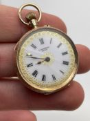 9CT YELLOW GOLD LADIES POCKET WATCH, MADE BY T.FATTORINI SWISS, DOES NOT APPEAR TO BE WORKING (