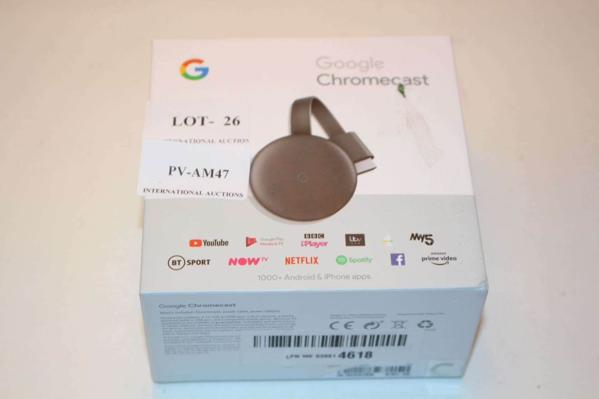 BOXED GOOGLE CHROMECAST RRP £30.00Condition ReportAppraisal Available on Request- All Items are