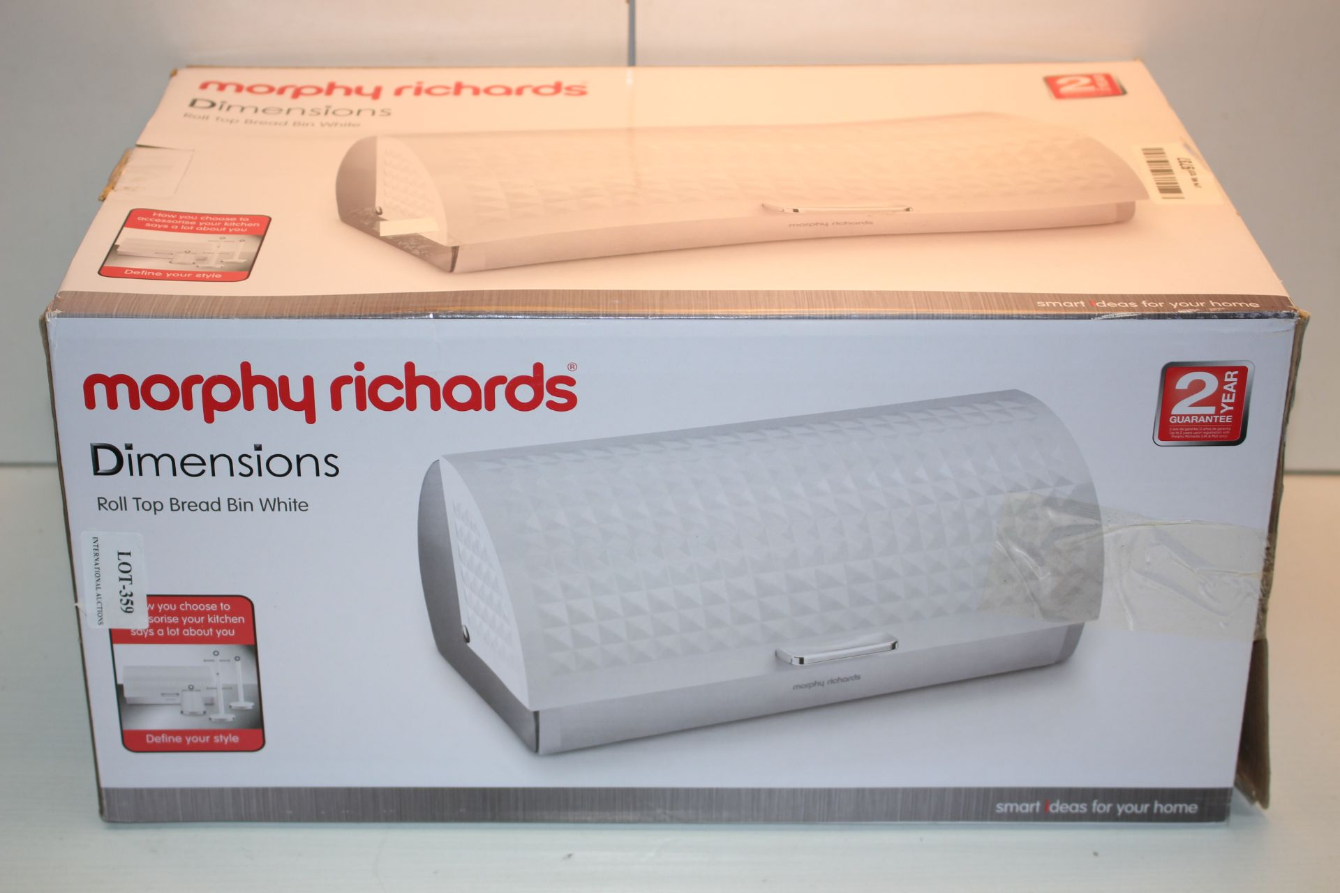BOXED MORPHY RICHARDS DIMENSIONS ROLL TOP BREAD BIN WHITE RRP £29.99Condition ReportAppraisal