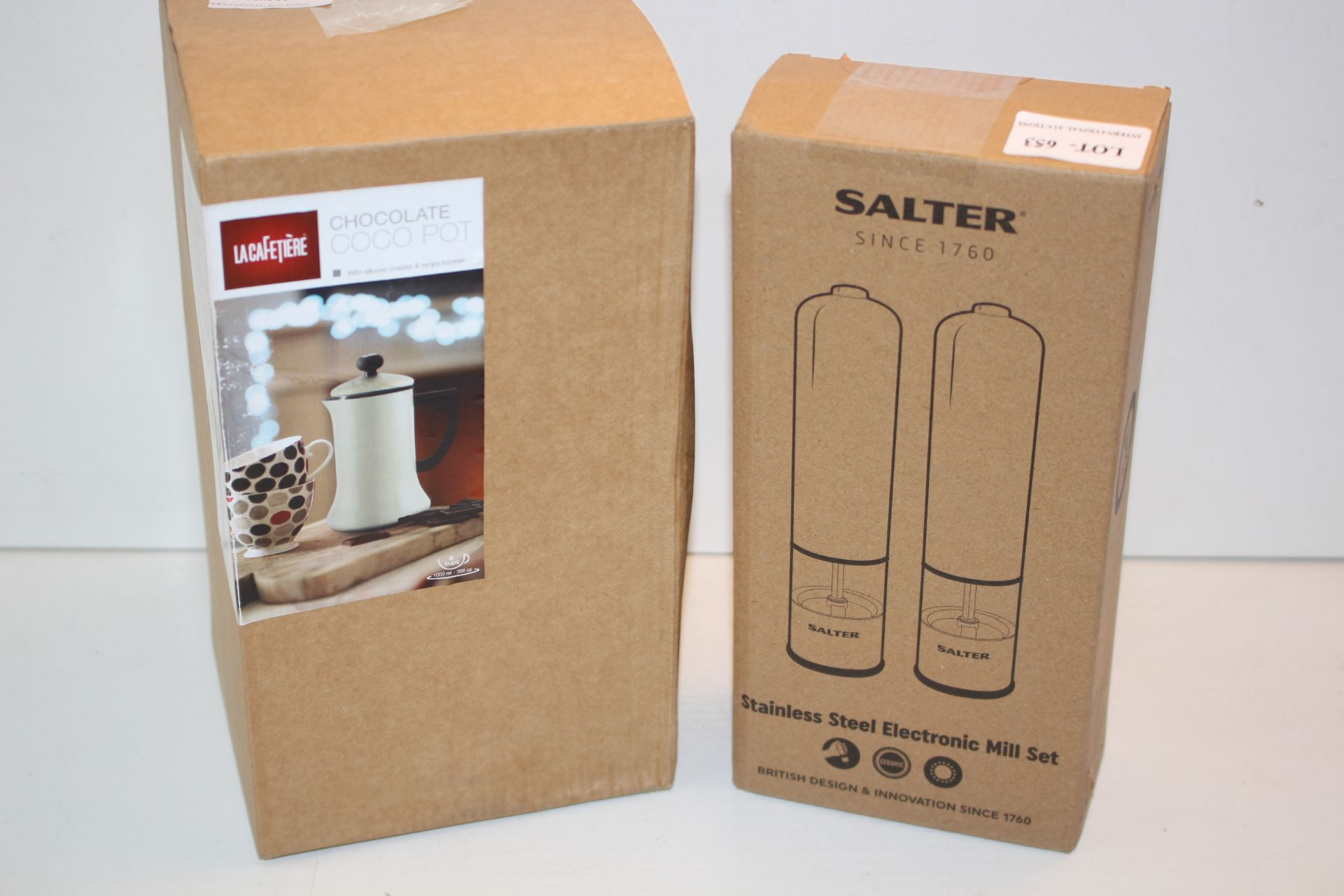 X2 BOXED ITEMS INCLUDING SALTER MILL SET AND CHOCOLATE COCO POTCondition ReportAppraisal Available