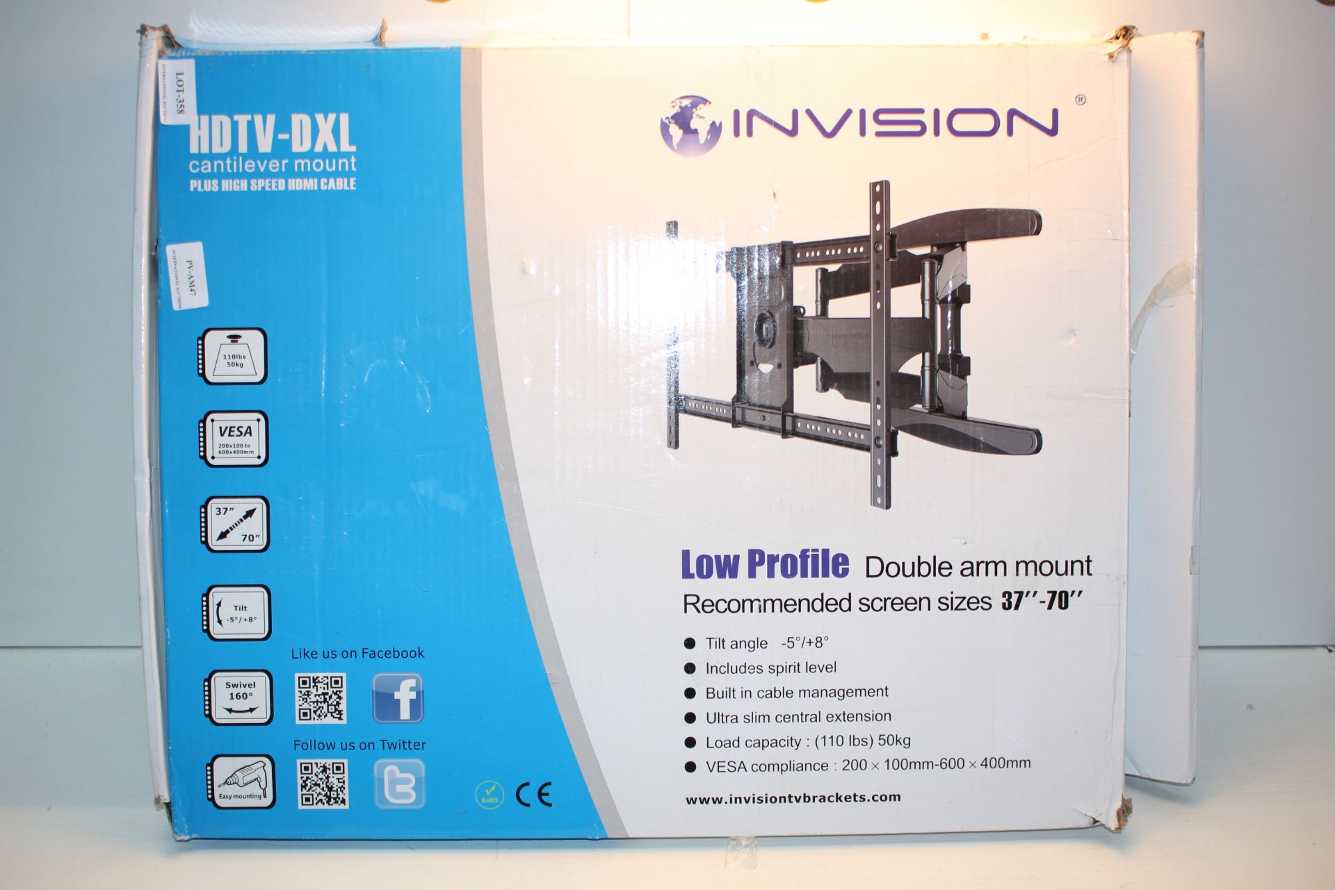 "BOXED INVISION HDTV-DXL CANTILEVER MOUNT LOW PROFILE DOUBLE ARM MOUNT 37""-70""Condition"