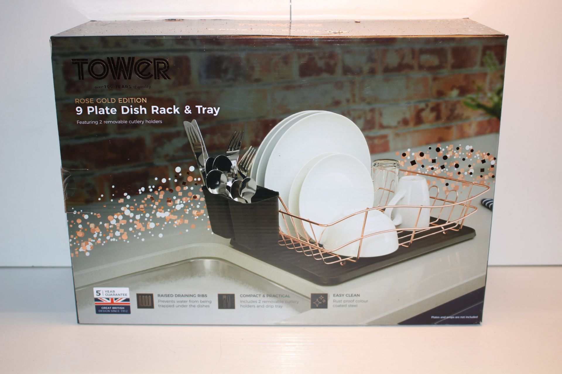 BOXEDE TOWER 9 PLATE DISH RACK ANMD TRAY ROSE GOLD EDITIONCondition ReportAppraisal Available on