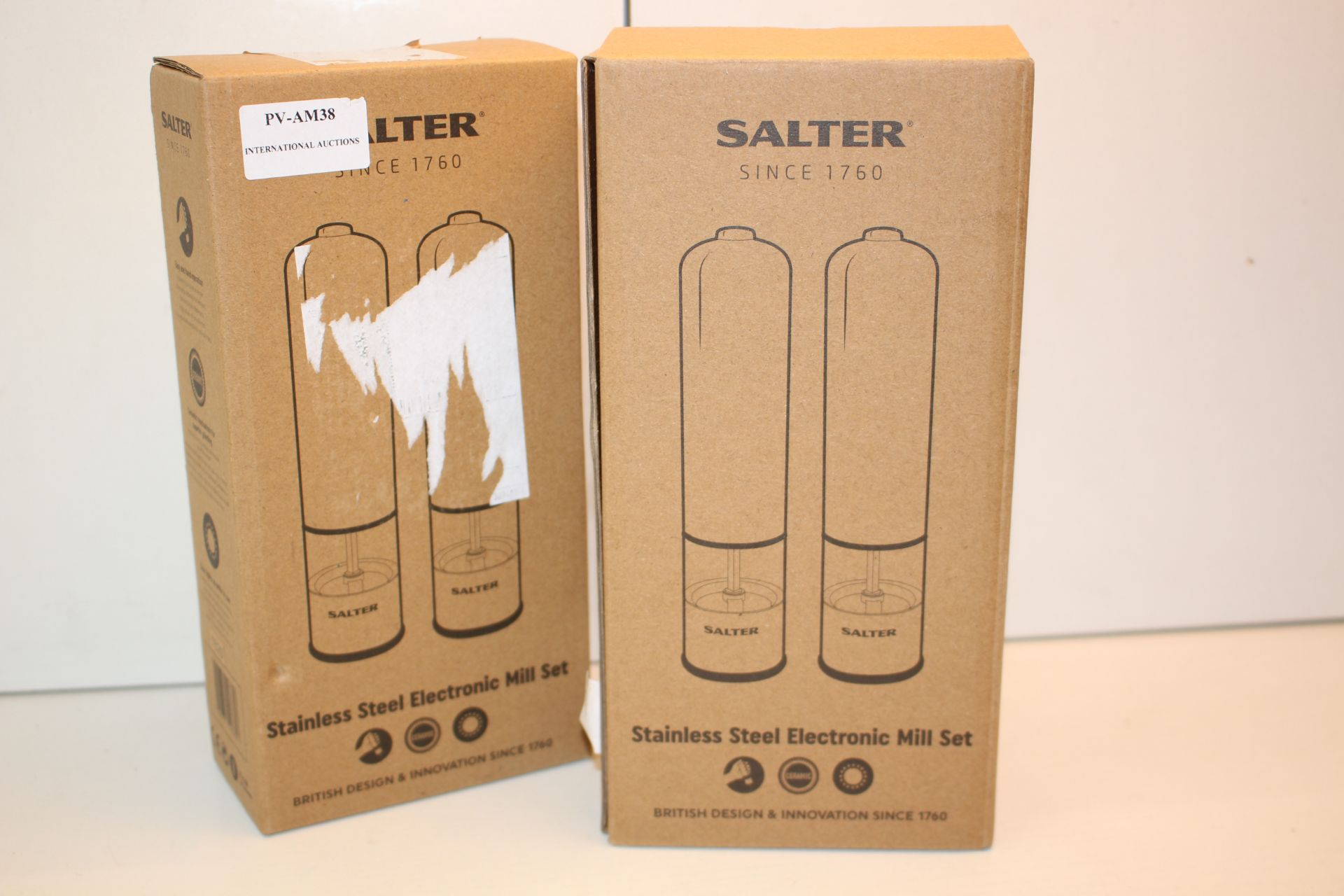X2 BOXED SALTER STAINLESS STEEL ELECTRIC MILL SETSCondition ReportAppraisal Available on Request-