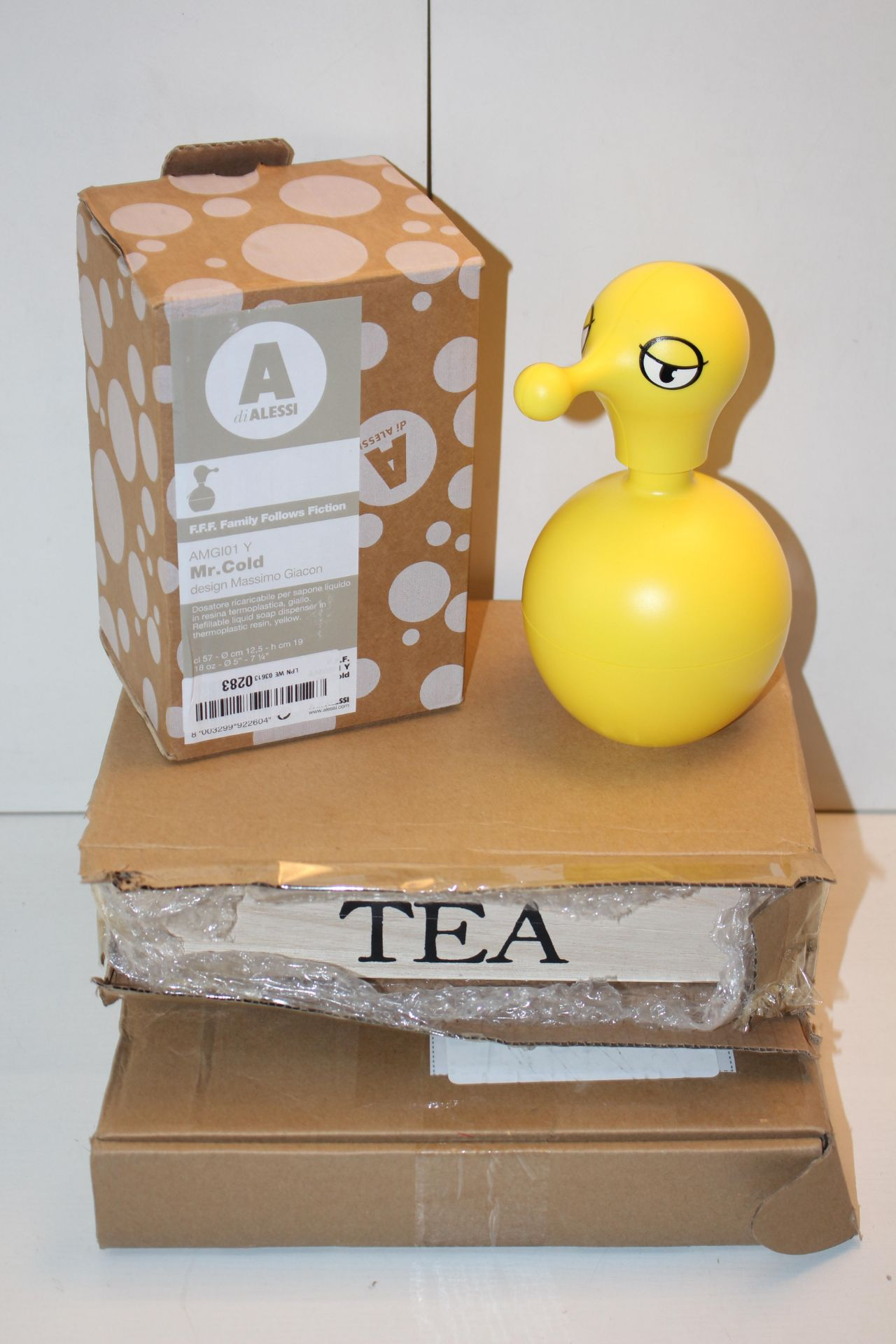 X3 HOME ITEMS INCLUDING, CLOCK,TEA HOLDER AND ALESSI SOAP DISPENSORCondition ReportAppraisal
