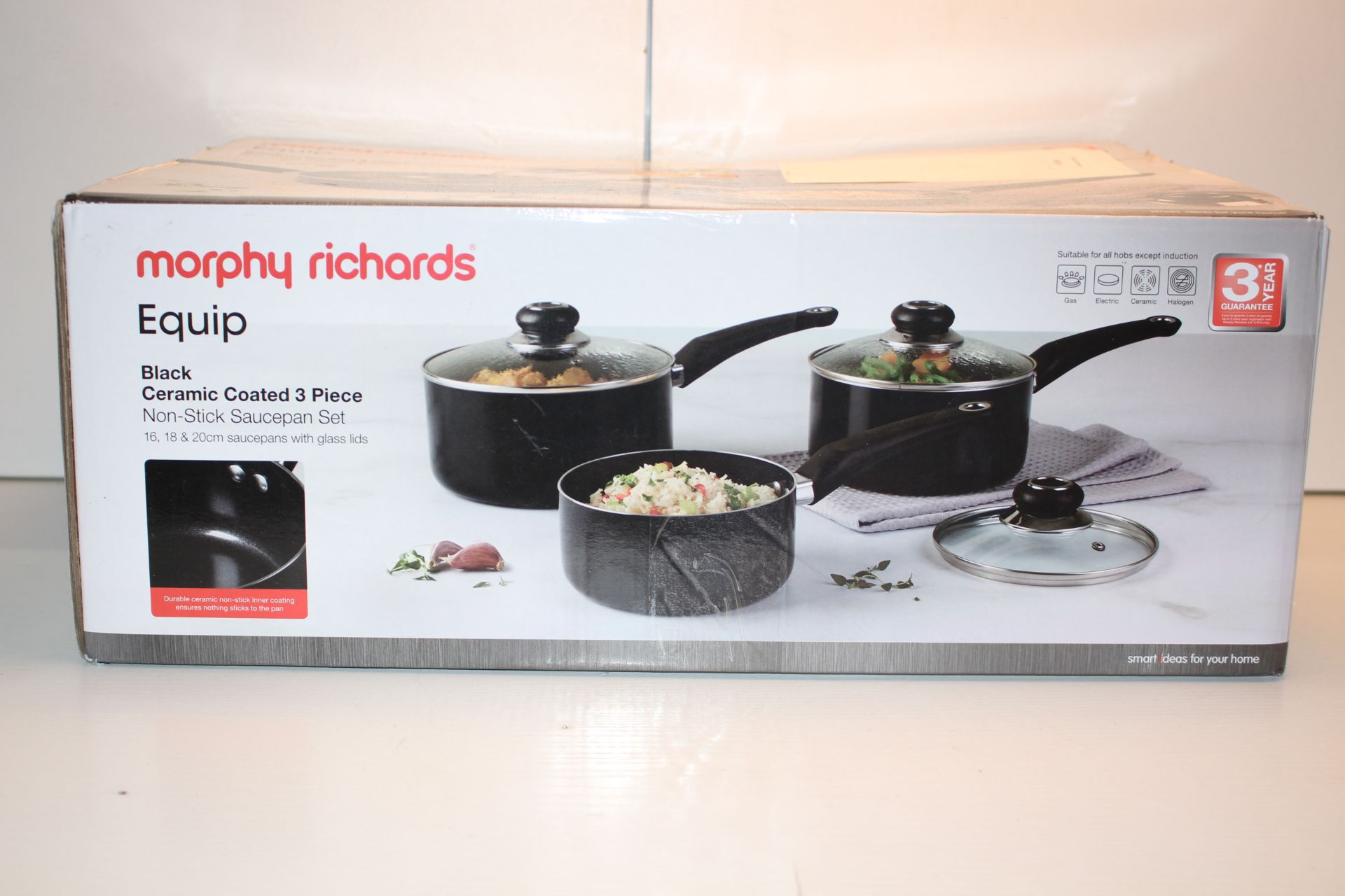 BOXEED MORPHY RICHARDS EQUIP BLACK CERAMIC PAN SETCondition ReportAppraisal Available on Request-